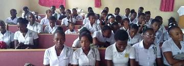 Secondary Students assembling for Devotions
